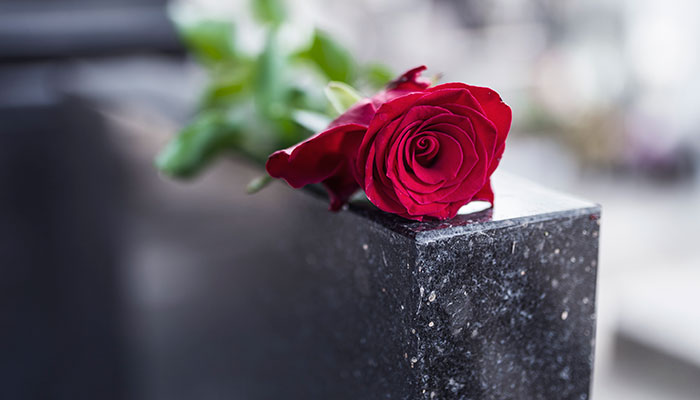 A single red rose laying on top of a black tombstone.