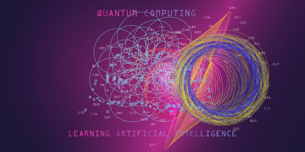 Quantum Computing Concept. Learning Artificial Intelligence Infographic Vector Illustrations. Algorithms Visualization For Business And Science. Big Data.